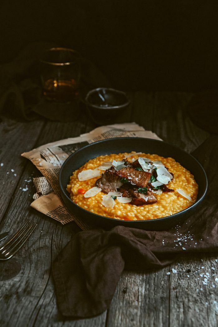 Tekvicové rizoto s pomaly vareným hovädzím mäskom