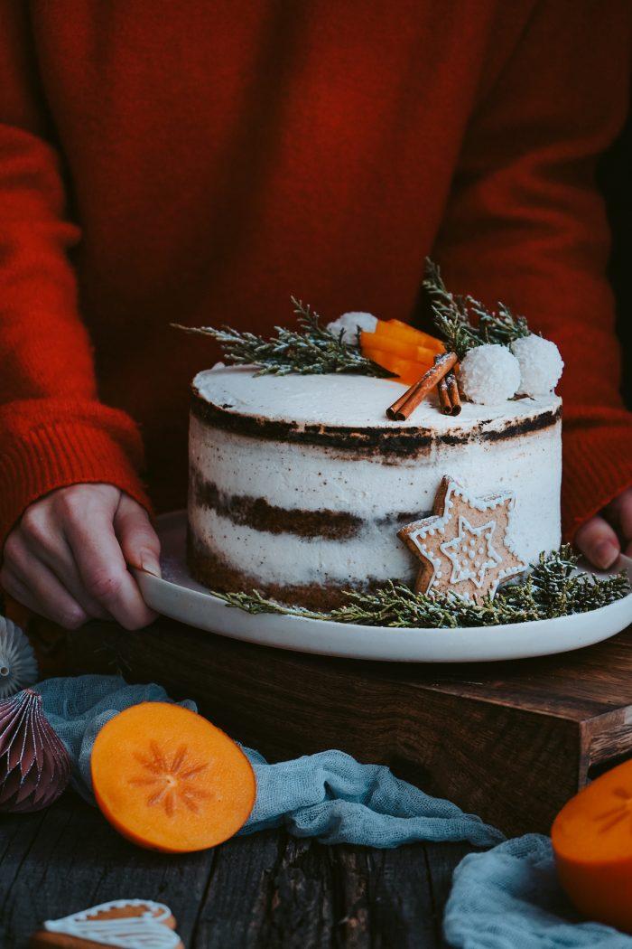 Orechovo Perníková Torta s Hurmikaki