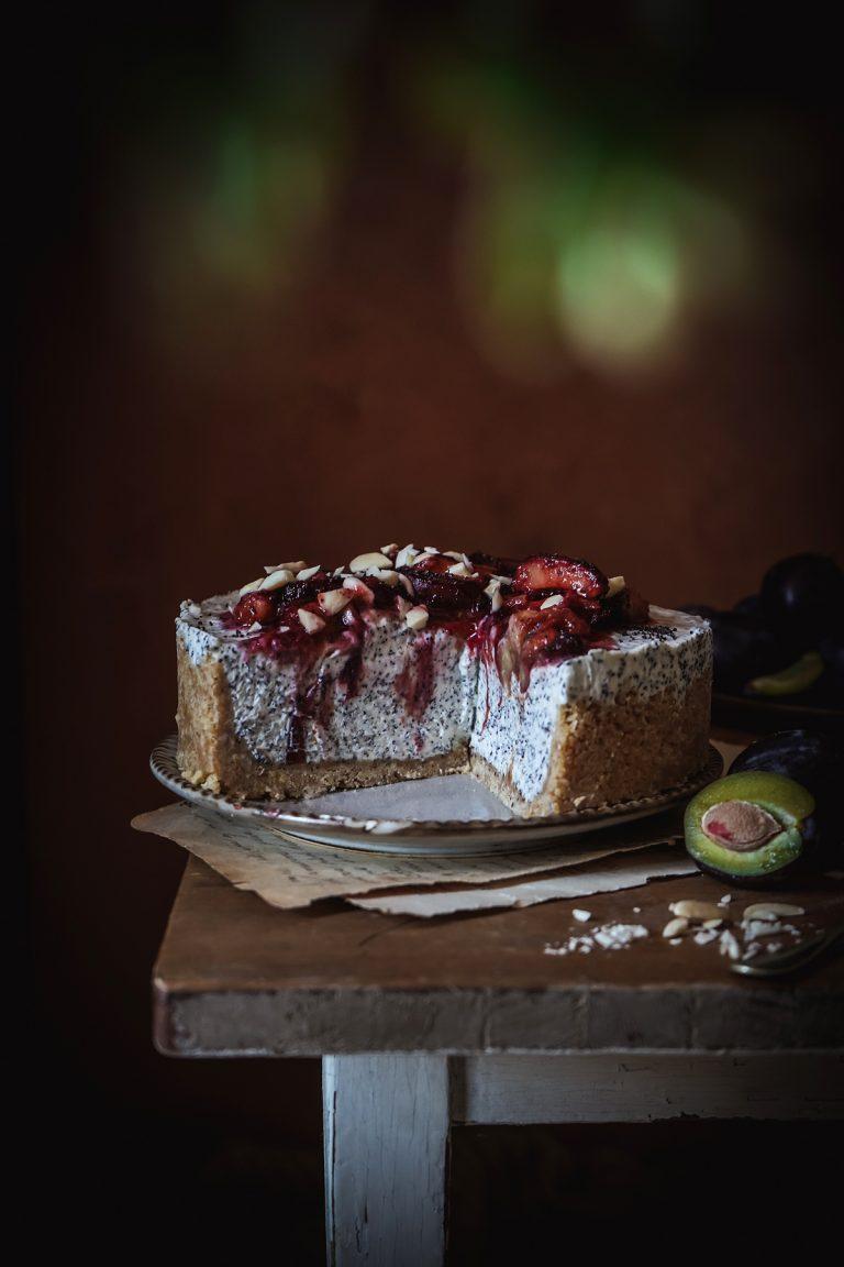Makovo slivkový nepečený cheesecake